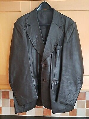 """Dark Brown Soft Leather Mens Jacket / Coat, Good Condition, Size Uk 46"""" Chest"""