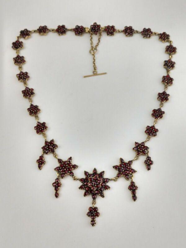 Antique Victorian 9K Yellow Gold Bohemian Garnet Necklace Choker