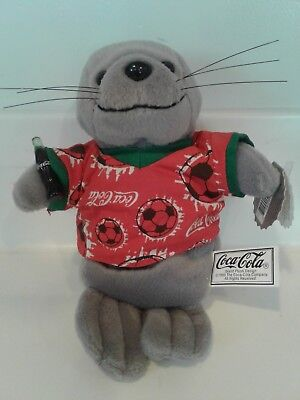 Coca Cola Seal in Soccer Shirt Holding a Coke Bottle 1999 NWT Bean Bag image
