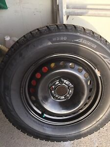 4 BRIDGESTONE BLIZZAK WS80 WINTER SNOW TIRES ON RIMS