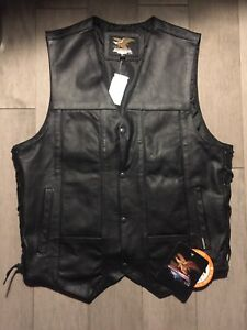 new :motorcycles  vest Buffalo Leather Vest w/Solid Back Harley