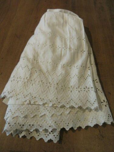 Antique Cotton Petticoat Slip Large Lingerie Lace layer vintage Victorian 1890s