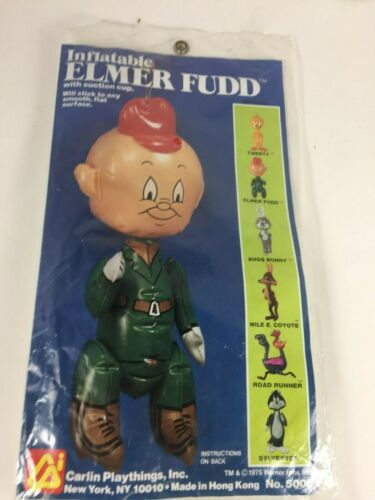 1975 Vintage Bugs Bunny ELMER FUDD Inflatable Blow Up Carlin Playthings Inc.