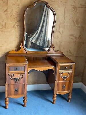 1900 1950 Dressing Table With Mirror, Oak Dressing Table With Fold Down Mirror