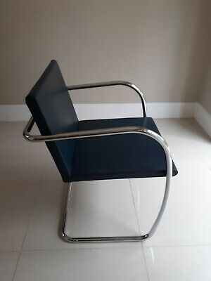 8 Original Knoll Studio Mies Van Der Rohe Brno Navy Blue Leather Chairs