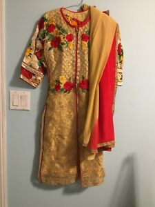 Golden and red indian suit