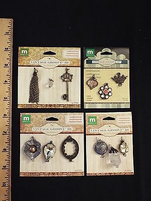 4 NEW making memories jewelry-vintage groove-RARE-charms-crown,key,pendants