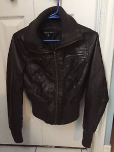 Brown Faux Leather Fall Jacket Size Small