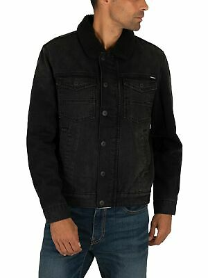 Superdry Men's Hacienda Sherpa Denim Jacket, Black