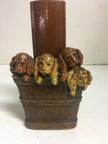 ANTIQUE VINTAGE PUPPY DOGS  WOOD LIKE BRUSH HOLDER  VALLET