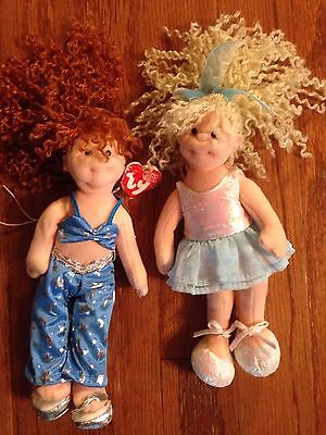 """Ty Teenie Beanie Boppers Groovy Girls Playful Peggy And Shy Shannon 8"""" Lot of 2"""