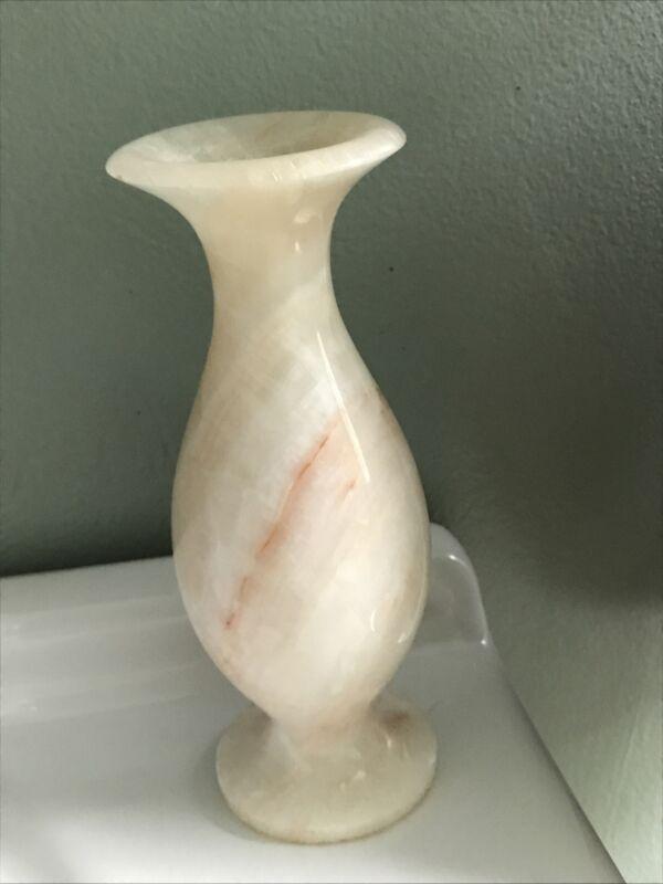 "Vintage Marble -Stone Small White/Tan/Cream Swirl Decorative Bud Vase. 5.5"""