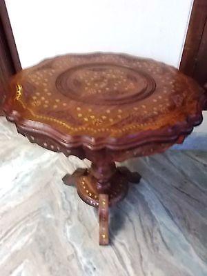 Hand Geschnitzten Couchtisch (Small Round Table Intarsien aus Messing Arbeit Hand geschnitzt Kaffee table Fa)