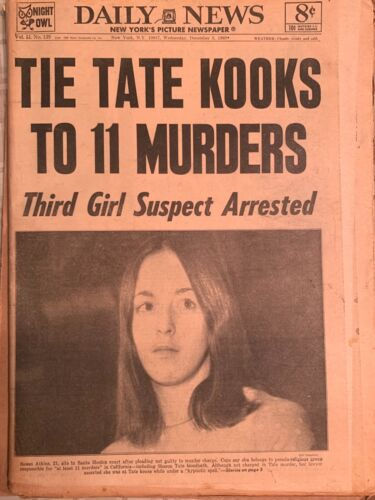 "Sharon Tate CASE-December 3, 1969 New York Daily News newspaper- ""TATE KOOKS"""