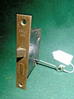 ONE YALE #808 PASSAGE MORTISE LOCK w//KEY FULLY RESTORED 14816