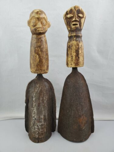 """Pair 2 Antique African Carved Face Wood Handle & Metal Gong Bells 15"""" Tall"""