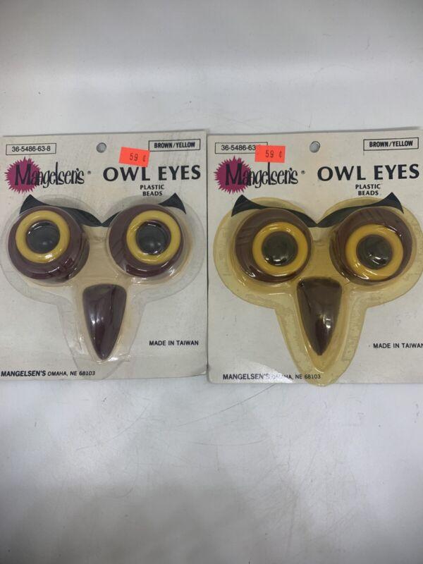 Vtg Lot Of 2 Mangelsen's  Owl Eyes Plastic Beads Brown/Yellow  NOS