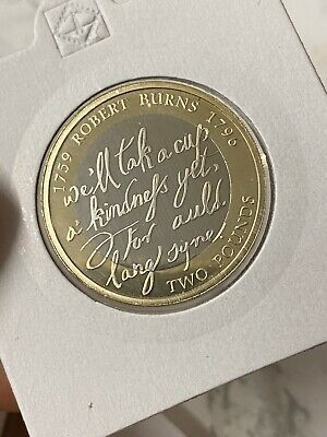 2009 Elizabeth II £2 Two Pound PROOF Coin, Robert Burns
