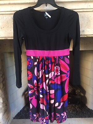 (New Oian Round Neck Long sleeve Print Skirt Maternity Dress Size M Black)