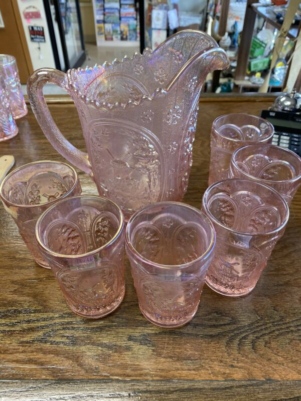 Beautiful Vintage Lenox CARNIVAL Glass Pink Iridescent PITCHER and 6 GLASSES