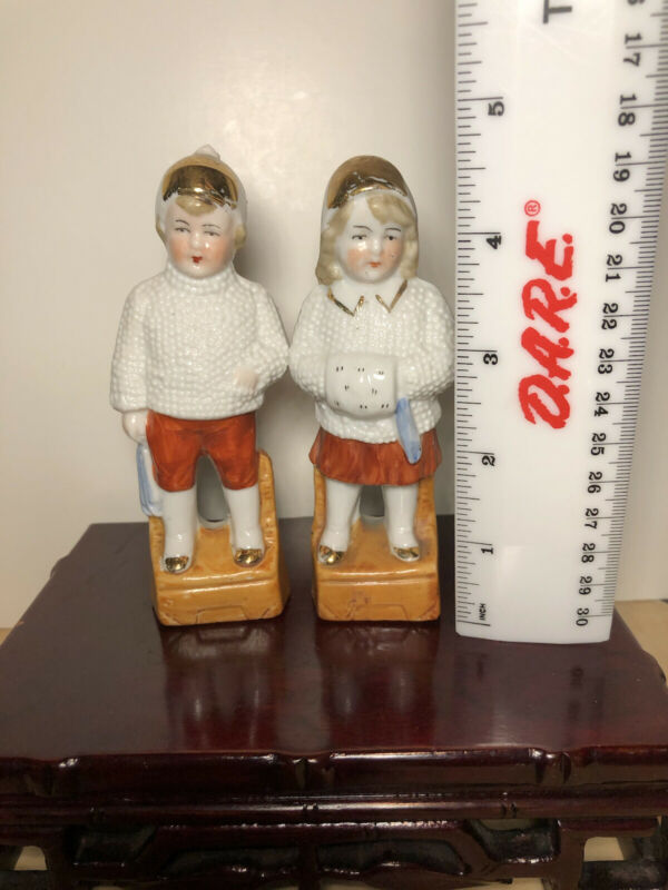 """Pair Porcelain Boy And Girl Figurines German 4.5"""" Tall"""