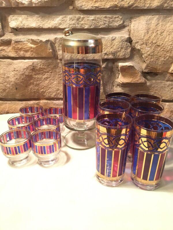 Rare Vintage Cocktail Shaker W/ 12 Glasses