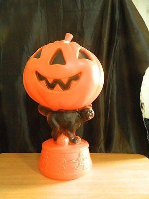 "VINTAGE EMPIRE Blow Mold 14""  HALLOWEEN Pumpkin w/Cat EUC"
