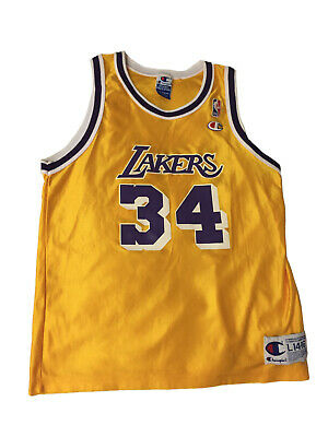Vintage Champion LAKERS Shaquille O'Neal Jersey Size Youth Large14-16 Shaq NBA