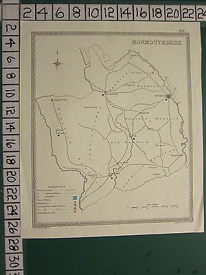 c1850 VICTORIAN MAP ~ MONMOUTHSHIRE ~ ELECTORAL DIVISION POLLING PLACES NEWPORT
