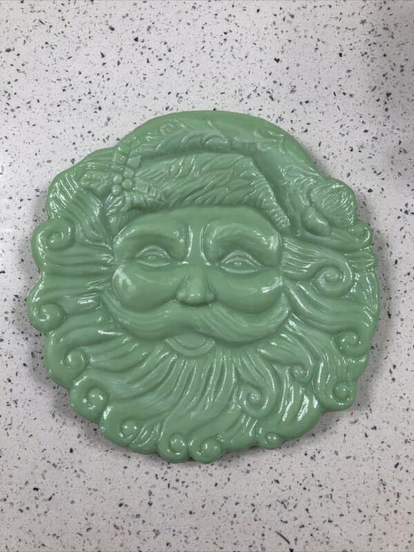 Cracker Barrel Jadeite Jade Glassware Santa Claus Plate Christmas Platter
