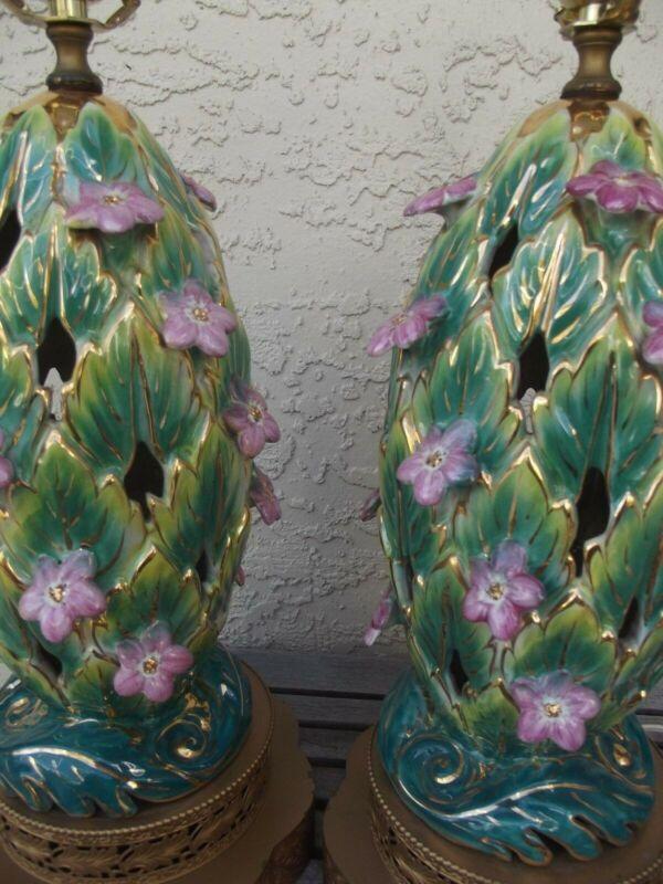 """Vtg Pair of Capodimonte Porcelain Table Lamps Pierced Floral 19 """" H GC Free Ship"""