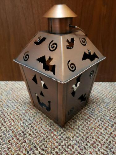 Vintage Hallmark Halloween Tea Light Lantern Copper Pumpkin Bats
