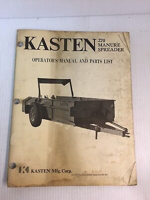 Kasten 270 Manure Spreader Parts And Operators Manual