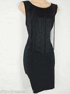 BNWT Definitions Black 20's Style Bodycon Fringe Dress Size 14 Stretch