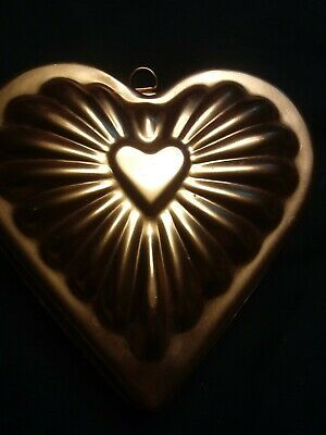 Heart Gelatin Mold (Vintage Copper Colored Gelatin Jello Mold Wall Hanging Heart Shape)
