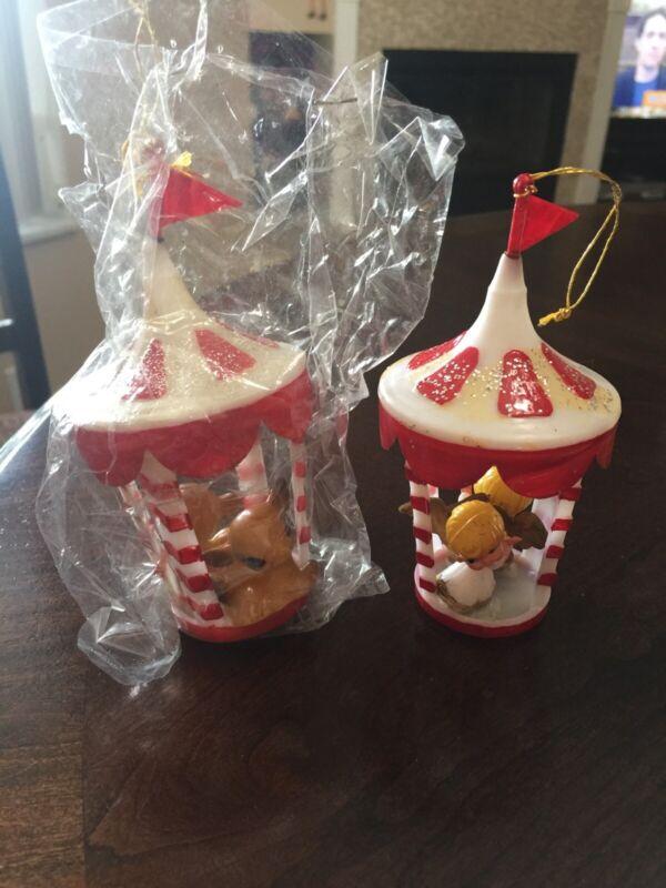 2 - VINTAGE HARD PLASTIC CHRISTMAS DECORATIONS/ORNAMENTS