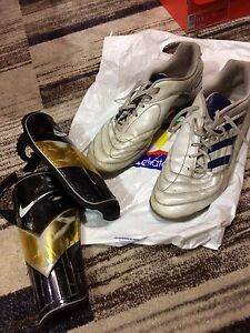 Indoor soccer shoes n shin guards s-12 adult