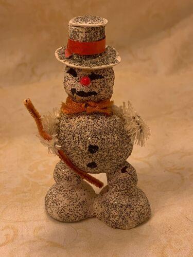 Vintage Mica Glitter Cardboard Snowman - Japan