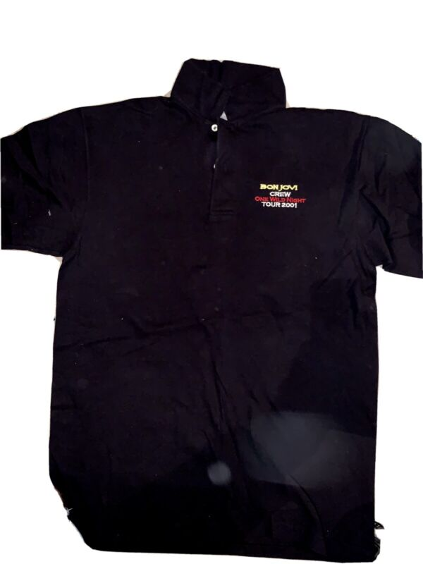 RARE Bon Jovi Touring Crew One Wild Night 2001 Collared Shirt - size medium