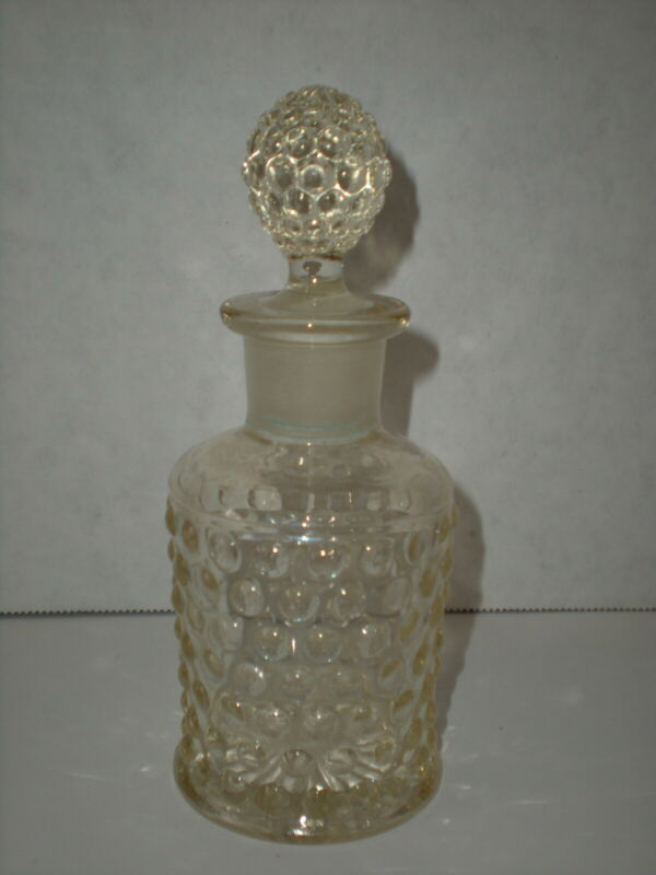 Vtg Hobnail PERFUME Bottle w/ Stopper Lite Smokey Quartz color