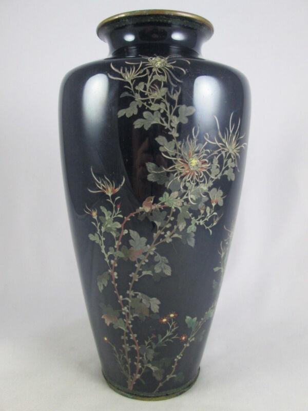 "Antique Japanese Black Cloisonne Chysanthemum Vase Large 9 1/2"" Meiji NR!"