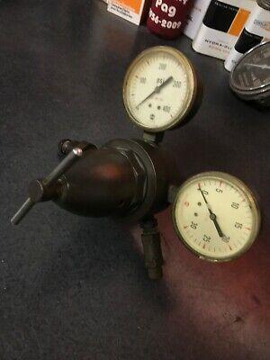 Vintage Oxygen Gas Welding Regulator Pressure Gauge Solid Brass