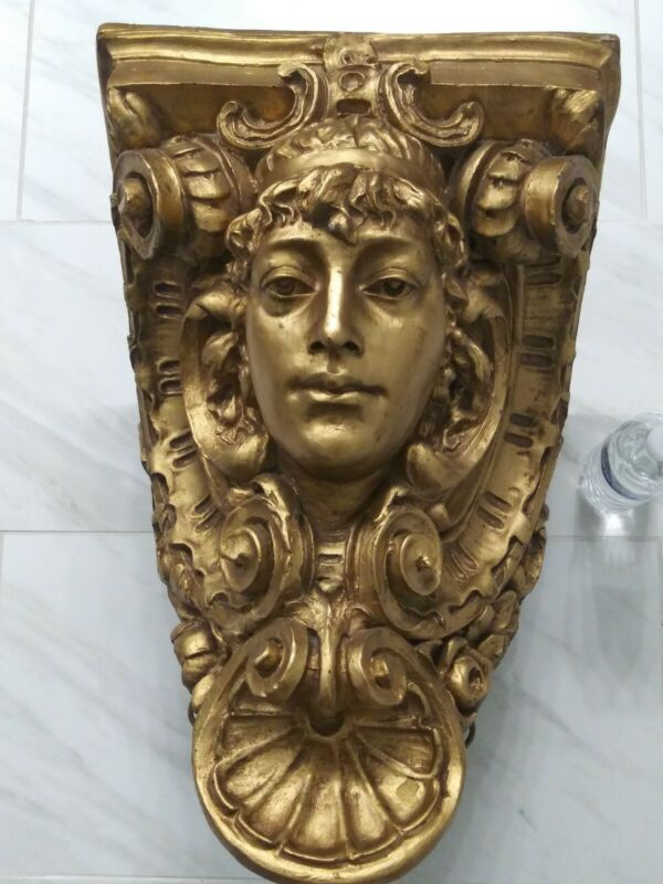 Huge Large Architectural Woman Lady Statue  Face Corbel Gold Wall Ceiling Shelf