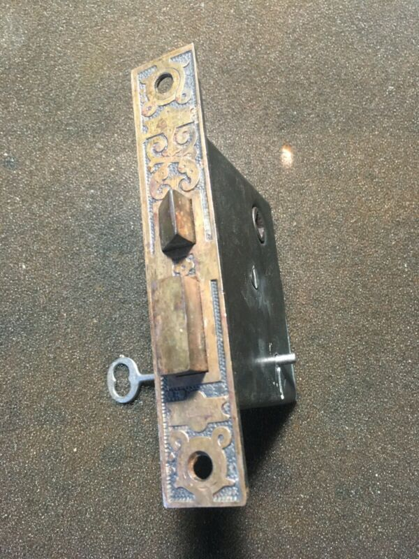 Antique Victorian Russell & Erwin Eastlake Mortise Lock And Skeleton Key