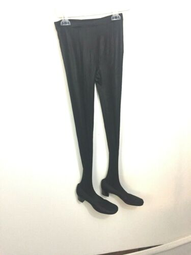 Black Stretch Cosplay pants Goth Punk Rave Festival Fetish Shoes attached J2