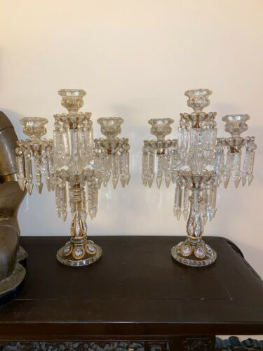 PAIR of Antique Baccarat Candelabras Vintage Rare Floral Decor