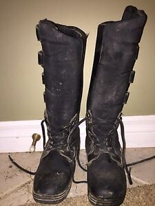 3 black tall winter riding boots