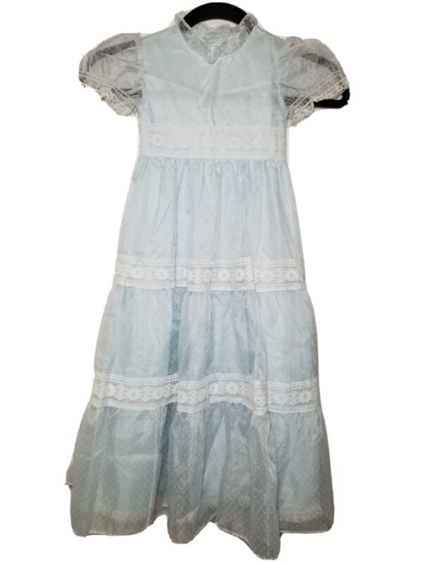 BRYAN Vintage Sheer Light Blue Lace Trim Polka Dot Dress Sz 4 Made USA New