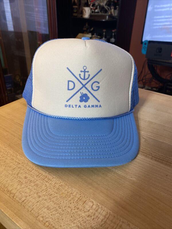 DELTA GAMMA Sorority Carolina Blue Hat Snapback Mesh Trucker Cap Cameo One Size