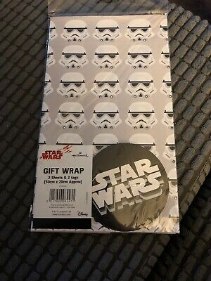 STORMTROOPER 2 GIFT WRAP & 2 TAGS WRAPPING PAPER SHEETS VINTAGE STAR WARS RETRO